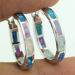 Wholesale Retail Great Synthetic Blue White Pink Fire Opal Women Opal Hoop Earrings 20mm Free Gift Box - onlinejewelleryshopaus