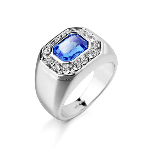 Crazy Sale Inlay Austria Blue Crystal With Small Rhinestone Setting Men Ring,Wedding Gold Ring Designs For Men Fine Men Jewelry - onlinejewelleryshopaus