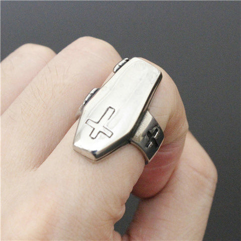 Newest Style Polishing Coffin Jesus Cross Ring Coffin Skull Ring Top Quality 316L Stainless Steel Cool Mens Ring - onlinejewelleryshopaus