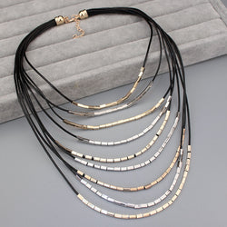 2016 New Arrival Unique Design Jewelry Multilayer Leather Rope Bohemia Statement Necklace Long Necklace for Women - onlinejewelleryshopaus