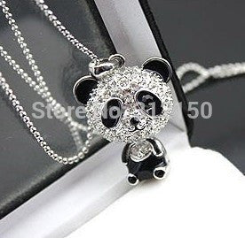 12pcs/lot Free shipping Fashion Cute Panda Necklace,Full Crystal Panda Pendant Necklace, sweater chain Necklace Animal Jewelry - onlinejewelleryshopaus