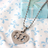2015 New Products Stainless Steel Family Pendant Necklace Charm Necklace Heart Sharp Two Sister And One Brother With Chain - onlinejewelleryshopaus