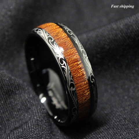 Black Tungsten carbide Ring Koa Wood Inlay Dome Wedding Band Ring men's jewelry Free Shipping - onlinejewelleryshopaus