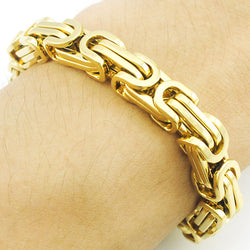 Promotion! Men's Bracelets Gold Chain Link Bracelet Stainless Steel 8mm Width Byzantine Wholesale High Quality BB247 - onlinejewelleryshopaus