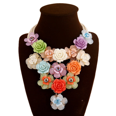 Women Charm Acrylic Crystal Flower Necklace Fashion Multicolor Beaded Collar Chokers Maxi Necklaces & Pendant Statement Jewelry - onlinejewelleryshopaus