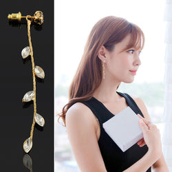 Elegant 1pair Crystal Branch Shaped Design Long Drop Earrings Fashion Jewelry For Women Gold Color Free Shipping - onlinejewelleryshopaus
