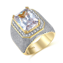 Fashion Rings Square Big Width Signet Rings gold color man Finger Cubic Zirconia Big Stone Men Ring Jewelry anel New
