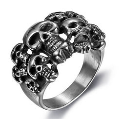 Famous Brands Vintage Pirate Skull Men's Rings Cool Sons  Anarchy Death Skull Ring Semi-circle Full Grim Raper Gothic Skull Ring