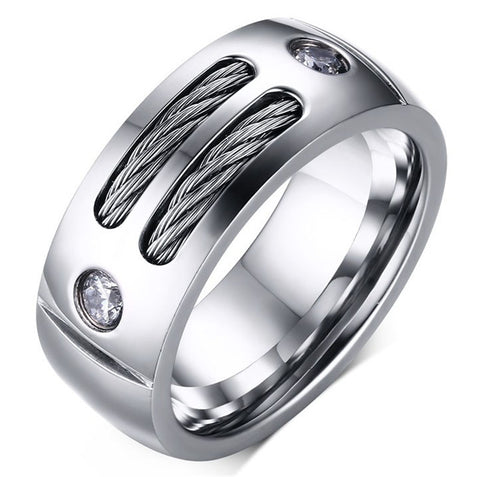 Unique Cables Screw Design Ring 2016 New Men's Ring Stainless Steel Punk Rock Ring With Wire Cubic Zirconia Party Jewelry - onlinejewelleryshopaus