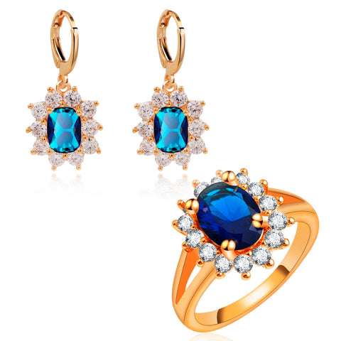 Yunkingdom Blue zircons Jewelry Sets Rose Gold plated Earrings crystal Rings for women accessories LPG5 - onlinejewelleryshopaus