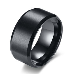 Basic Men Wedding Black Tungsten Ring 8mm Matte Finish Beveled Polished Comfort Fit Brushed Matte Solid Ring Wedding Band