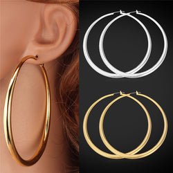 U7 Big Hoop Earrings For Women Gift Yellow Gold/Platinum Plated Wholesale Big Earrings Fashion Jewelry Party E132 - onlinejewelleryshopaus