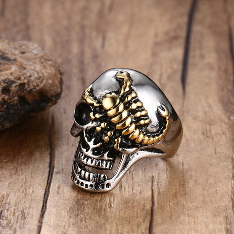 Men's Punk Skull Gold Scorpions Gothic Rings for Men Stainless Steel Vintage Biker Men Jewelry Halloween Gift with 30MM Wide - onlinejewelleryshopaus