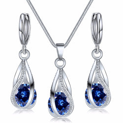 AILEND2018 New Fashion Crystal Jewelry Set Zircon Necklace Earrings Set Decoration