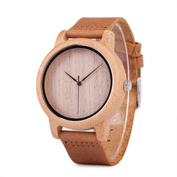 Unisex Casual Style Wooden Watch with Plain Wood Dial in Bamboo wood with Case