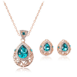Crazy Feng Luxury Crystal CZ Wedding Jewelry Sets For Women Hollow Waterdrop Pendants Necklaces Earring Set Party Gift
