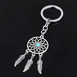 2016 Fashion Dream Catcher Tone Key Chain Silver Ring Feather Tassels Keyring Keychain For Gift Free Shipping - onlinejewelleryshopaus