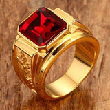 Punk Hip Hop Engraved Dragon Zircon Signet Ring Big Red Crystal Wedding Rings for Women Men Fashion Boho Jewelry Bague Anillos