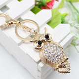 15 style Gold Rhinestone Women Animal Luxury Owl Car Pendant Keychains Bag Charm Cute Crystal Opal Key Ring Chain Gift - onlinejewelleryshopaus