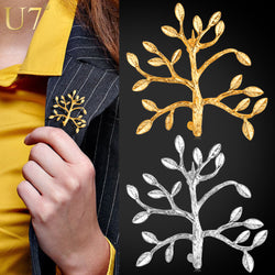 U7 Fashion Brooches For Women /Men Jewelry Wholesale Gold Plated Unisex Tree Of Life Leaf  Brook Pin B100 - onlinejewelleryshopaus