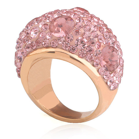 2015 Valenties' Gifts Women's Gold Plated Stainless Steel Pink CZ Crystal Ring - onlinejewelleryshopaus