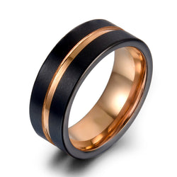 8MM Tungsten Carbide Rings Tungsten Ring Fashion Black and rose gold sport ring  for Men