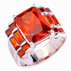 lingmei Noble Women Brilliant Large Red Garnet 925 Silver Ring Size 7 8 9 10 New Fashion Jewelry  Gift  Wholesale Free Shipping - onlinejewelleryshopaus