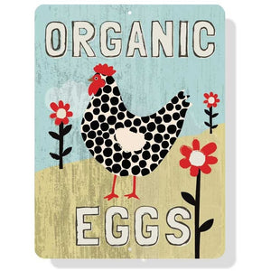 "Coop Sign - Organic Eggs 9 x 12"" Mineral Blue"