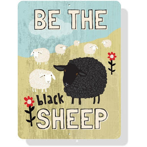 "Coop Sign - Be the Black Sheep - 9 x 12"" Mineral Blue"