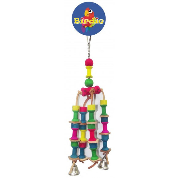Birdie 4 Arm Spool and Bell Bird Toy