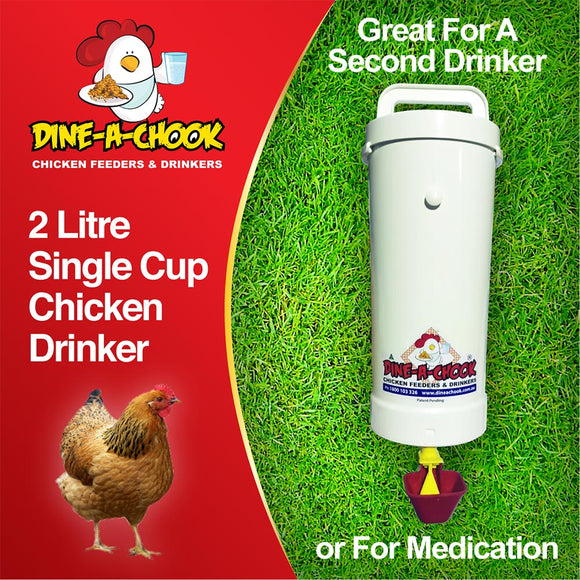 Dine a  Chook 2 Litre Poultry Drinker with One Lubing Cup