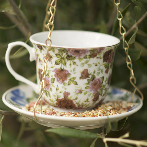 Tea Cup with Saucer Bird Feeder