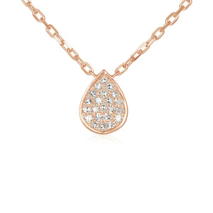 9ct Rose Gold and Diamond Small Pave Pear Shape Geometric Necklace