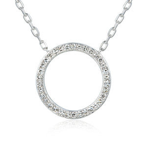 9ct White Gold Open Circle Diamond Geometric Necklace
