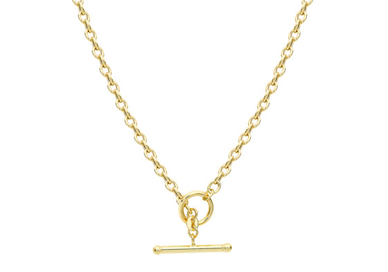 9ct Yellow Gold Albert T-bar Oval Belcher Necklace