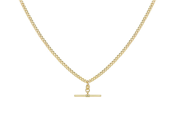 9ct Yellow Gold Albert T-bar Necklace