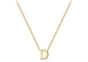 9ct Yellow Gold Plain Single Initial D Necklace
