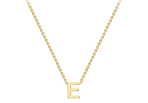 9ct Yellow Gold Plain Single Initial E Necklace