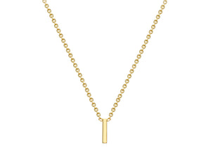9ct Yellow Gold Plain Single Initial I Necklace