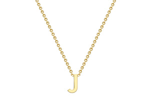 9ct Yellow Gold Plain Single Initial J Necklace