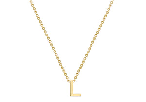 9ct Yellow Gold Plain Single Initial L Necklace