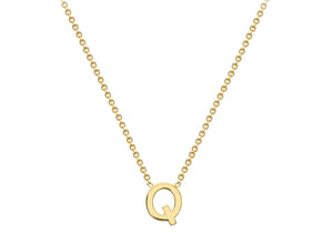 9ct Yellow Gold Plain Single Initial Q Necklace