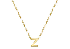 9ct Yellow Gold Plain Single Initial Z Necklace