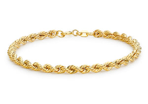 9ct Yellow Gold Hollow 4mm Rope Chain Bracelet