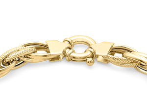 9ct Yellow Gold Textured Link Chunky Bracelet