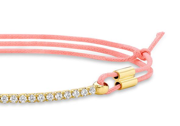9ct Gold Crystal Bar on Pink String
