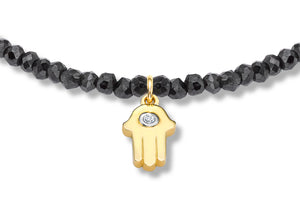 Black Spinel and Gold Hamsa Diamond Bracelet