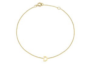 9ct Yellow Gold Plain Single D Initial Bracelet