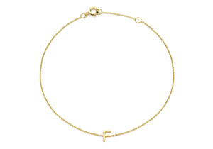 9ct Yellow Gold Plain Single F Initial Bracelet