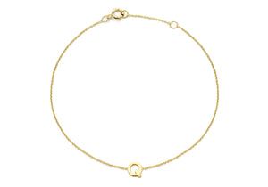 9ct Yellow Gold Plain Single Q Initial Bracelet